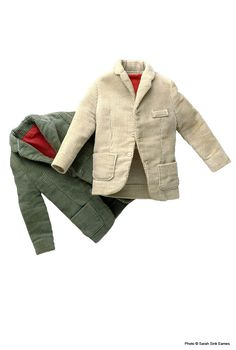 1962. Corduroy Jacket. Vintage Ken. Ken Doll Fashion Paks. Barbie Collector. Narrow wale corduroy jacket with red half lining. Color choices included green or tan.