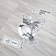 Dotwork geometric sparrow bird tattoo - custom design for Anne Plas