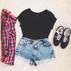 black shirt, red + black + white flannel, shorts & black vans