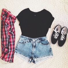 black shirt, red + black + white flannel, shorts & black vans