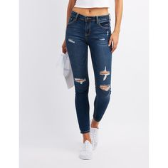 Cello Destroyed Skinny Jeans ($25) ❤ liked on Polyvore featuring jeans, bottoms, indigo, dark wash ripped skinny jeans, distressed jeans, mid rise skinny jeans, skinny fit jeans and ripped jeans