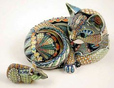 in art, ceramics, David Burnham Smith, Master ceramic artists, artist . Ceramic Animals, Clay Animals, Animal Sculptures, Sculpture Art, Animal Gato, Clay Cats, Gatos Cats, Mexican Folk Art, Kandinsky
