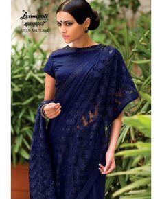 Saree Style : Saree Colours: Navy BlueSaree Fabric : Silk and Russe Net Jacquard Blouse Fabric : Silk Blouse Colour : Navy Blouse