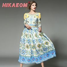 8b5d617b US $18.79 36% OFF|3 Qualter Sleeve Retro Maxi Dresses O Neck Low Cut Loose  Pleated 2018 Early Spring New Zipper Runway Vintage Print Long Dress-in  Dresses ...