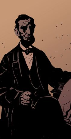 "Mike Mignola's Abe Lincoln from ""The Amazing Screw-On Head."""