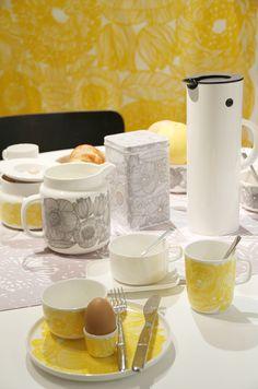 Grey and yellow kurjenpolvi Where Do I Live, Kitchenware, Tableware, Marimekko, Spring Summer, Summer 2014, Spring Time, Kitchen Dining, Sweet Home