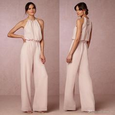 2017 Latest Pearl Pink Chiffon Pant Suit Bridesmaid Dresses Long Cheap Halter Floor Length Maid Of Honor Custom Made China Polka Dot Bridesmaid Dresses Popular Bridesmaid Dresses From Gold Bridesmaid Dresses Uk, Dusky Pink Bridesmaids, Bride Dresses, Wedding Pants, Wedding Jumpsuit, Wedding Dress, Jumpsuit Elegante, Maid Of Honour Dresses, Cheap Dresses