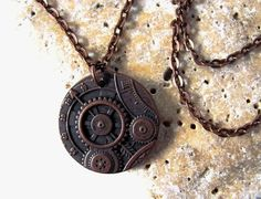 Steampunk Gears Pendant Copper Charm Necklace by HendysHome, $18.00