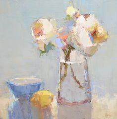 "Barbara Flowers, ""Flowers and Lemon"" - 24x24, oil on canvas--at Principle Gallery"