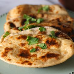 Homemade Naan with Mint Cilantro Chutney platingsandpairings.com