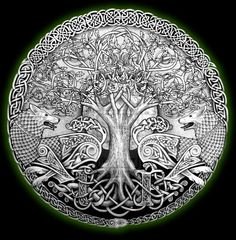 Celtic tree of life and Wolves