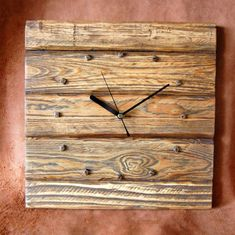 Wooden Clock Designs | Rustic Pallet Wood Wall Clock by CraftyIsland on Etsy, €30.00