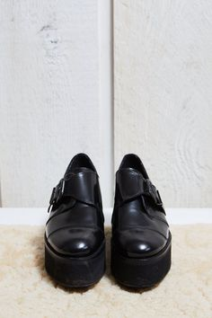 Topshop Black Patent Leather Platform Loafer with Monk Strap  7.5 W by SoftServeVintage