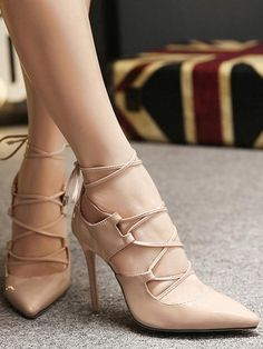 cd5258edf221 Shop Nude Lace Up High Stiletto Heel Pumps online. SheIn offers Nude Lace  Up High Stiletto Heel Pumps   more to fit your fashionable needs. cooliyo