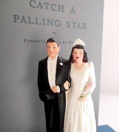 Antique Chalkware Wedding Cake Topper