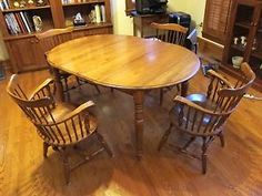 Ethan Allen Furniture Table And Chairs Dining Set Heirloom Maple Wood