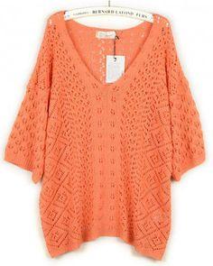 V-Neck Orange half sleeve loose knit top Bat sleeves Pop style zz919007 in Indressme  From indressme