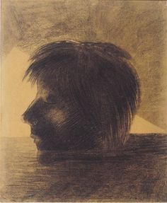Head of Orpheus on the Water or The Mystic, 1880 by Odilon Redon. Symbolism. symbolic painting. Kröller-Müller Museum, Otterlo, Netherlands