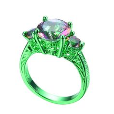 Rainbow fire topaz ring #green gold #filled wedding band for #women size 6,7,8,9,,  View more on the LINK: http://www.zeppy.io/product/gb/2/351956681255/
