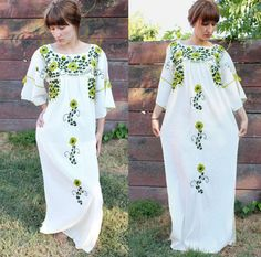 1970s floral embroidered maxi dress.... $76.00