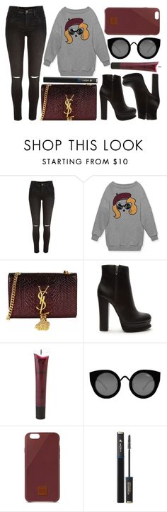 """""""street style"""" by sisaez ❤ liked on Polyvore featuring River Island, Gucci, Yves Saint Laurent, Forever 21, Quay and Native Union"""