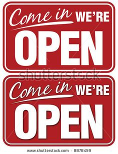 Come In We're Open sign. Top sign flat style. Bottom sign has shadowing for a layered look by samantha grandy, via ShutterStock