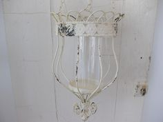 Large Hanging Lantern-shabby chic lantern, distressed shabby chic