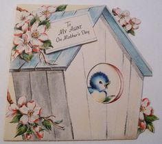 For a special aunt on Mother's Day. #bluebird #cute #vintage #Mothers_Days #cards