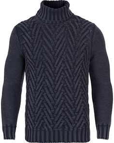 Gran Sasso Structured Lambswool Roll Neck Dark Blue i gruppen Tröjor hos Care of Carl AB (12049211r)