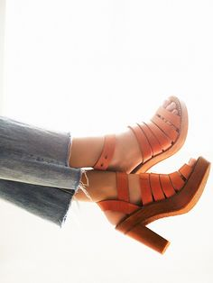 strappy leather platform heel sandals
