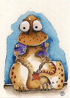 ACEO Original Watercolor Folk Art Lucia Stewart Dinosaur Whimsical Fish | eBay