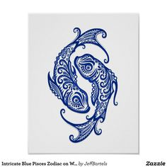 Intricate Blue Pisces Zodiac on White Poster