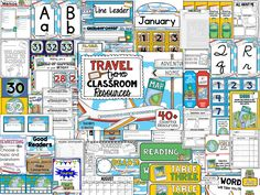 Over 40+ Travel-Themed Classroom Resources!  Everything from calendar pieces, nametags, writing stages, binder covers, passes, Valentine cards, student of the week pages to editable newsletters and Open House PowerPoint.  https://www.teacherspayteachers.com/Product/Travel-Theme-Decor-Pack-679847  Travel Theme, Travel Themed Classroom, Travel Themed Classrooms, Travel Décor, Travel Themed Décor, Travel Classroom Theme, Travel Theme Ideas