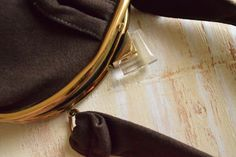 Vintage 1940's Brown Wool Clutch with Lucite by GracedVestige
