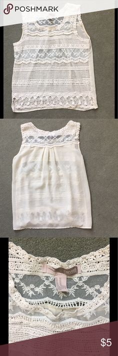 ✨SALE✨Crochet Top Crochet Front and sheer material on back. Would need a cami underneath. In great condition. Great for summer. Thank you for looking and feel free to ask me any questions.😊 Forever 21 Tops