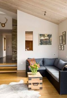 Interior view of contemporary Wood Room extension to thatched cottage in Exmoor National Park