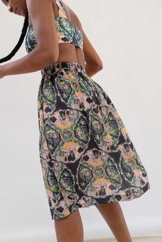 Beklina Fuggiamo Skirt - Plate Print | Garmentory Printed Matter, Tie Dyed, Elastic Waist, High Waisted Skirt, Menswear, Plates, Skirts, Fashion, Licence Plates