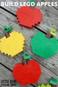 Build LEGO Apples for Kids Fall Activity. Fun Fall themed LEGO STEM challenge for kids of all ages. Math and engineering skills for young kids including symmetry, basic counting, and problem solving. Use basic bricks to build LEGO apples Apple Activities, Autumn Activities For Kids, Crafts For Kids, The Rainbow Fish, Herbst Bucket List, Van Lego, Lego Challenge, Lego Craft, Lego For Kids
