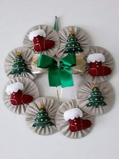 Reindeer Christmas Ornaments / Set of 2 Different / Christmas Rustic Reindeer Ornaments / Buffalo - Burlap Reindeer Ornaments / Handmade Christmas Raindeer, Christmas Ornament Sets, Christmas Art, Christmas Projects, Christmas Wreaths, Christmas Decorations, Christmas Stuff, Cd Case Crafts, Old Cd Crafts