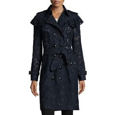 Burberry Stanhill Lace Trench Coat (€2.825) ❤ liked on Polyvore featuring outerwear, coats, navy, slim trench coat, double breasted coat, long lace coat, navy coat and navy blue coats