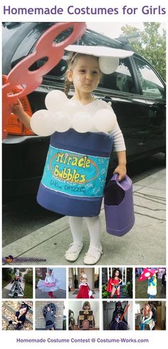 Homemade Costumes for Girls - a lot of DIY costume ideas! But mostly I'm pinning this because of the idea to hold candy in a clean, empty milk or detergent jug. Brilliant!!!
