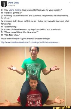 Where's that post about misha and west sitting on his shoulders? Misha is so adorable. Supernatural Actors, Castiel, Supernatural Crossover, Osric Chau, Funny Memes, Hilarious, Funny Pics, Fandoms, Super Natural