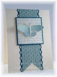 """a 2"""" strip trimmed outwith a v in the bottom, a  3"""" layered stamped square on top, with a cut-out stamped butterfly on top with pop dots under wings.  Details make the difference!  A very simple card, but the layered details make it look impressive."""