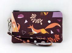 Orange Fox Small Wristlet Cell Phone Pouch Zipper by ZestyNotion