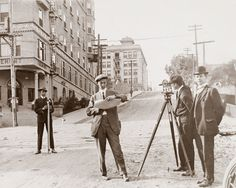 """maudelynn: """" Two engineering students and a professor from USC surveying Fourth street in downtown Los Angeles """" California History, Southern California, Vintage California, California Coast, Bunker Hill Los Angeles, Mission San Juan Capistrano, Old Photos, Vintage Photos, Vintage Posters"""