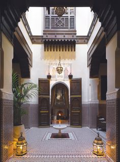 Courtyard at the Royal Mansour Hotel in Marrakech from [i]Condé Nast Traveller[/i], November 2009 Moroccan Art, Moroccan Interiors, Moroccan Design, Moroccan Lanterns, Moroccan Tiles, Islamic Architecture, Interior Architecture, Morrocan Architecture, Door Design