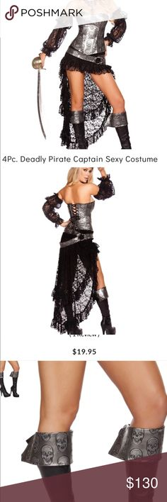 ☠️☠️Sexy pirate halloween costume☠️☠️ This costume is brand new. It is vey well made. Costume came from Foreplay. Boot cuffs came from Yandy. I will ship immediately. I'm so sad it doesn't fit me. Price firm because it's brand new. You won't be disappointed with it!! Forplay Other