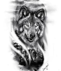Wolf Pack Tattoo, Wolf Tattoo Forearm, Wolf Tattoo Sleeve, Wolf Tattoo Design, Tattoo Design Drawings, Tattoo Sleeve Designs, Tattoo Sketches, Wolf Tattoos Men, Native Tattoos