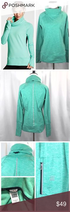 """VSX // Funnel Neck Pullover EUC! Funnel neck pullover by Victoria's Secret Sport.  Mint blue-green, color is more green than photos show. Sweat -wicking with soft, brushed fleece lining. Fold over cuffs with thumb holes. Reflective detail on back. Adjustable bungee cord collar. Zippered media pocket on arm with cord tunnel for your phone or music player. Approx 18"""" across chest, 25.5"""" shoulder to hemtrades smoke free home Victoria's Secret Tops Sweatshirts & Hoodies"""