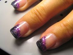 purple glitter french tips